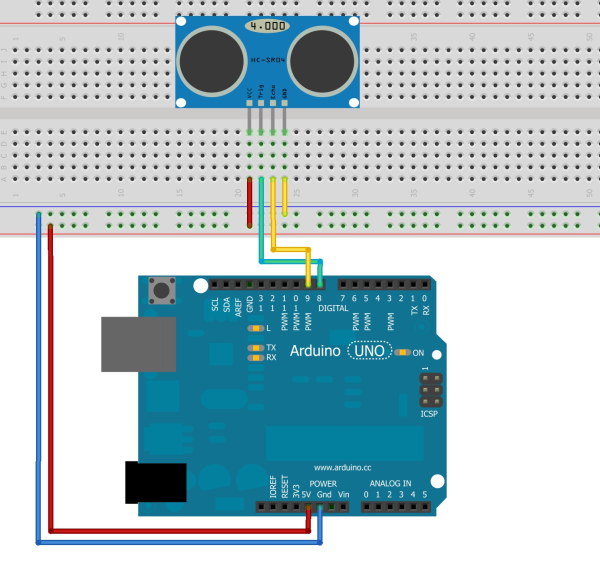 Picture of Connect Sonar Rangefinder to Aruino