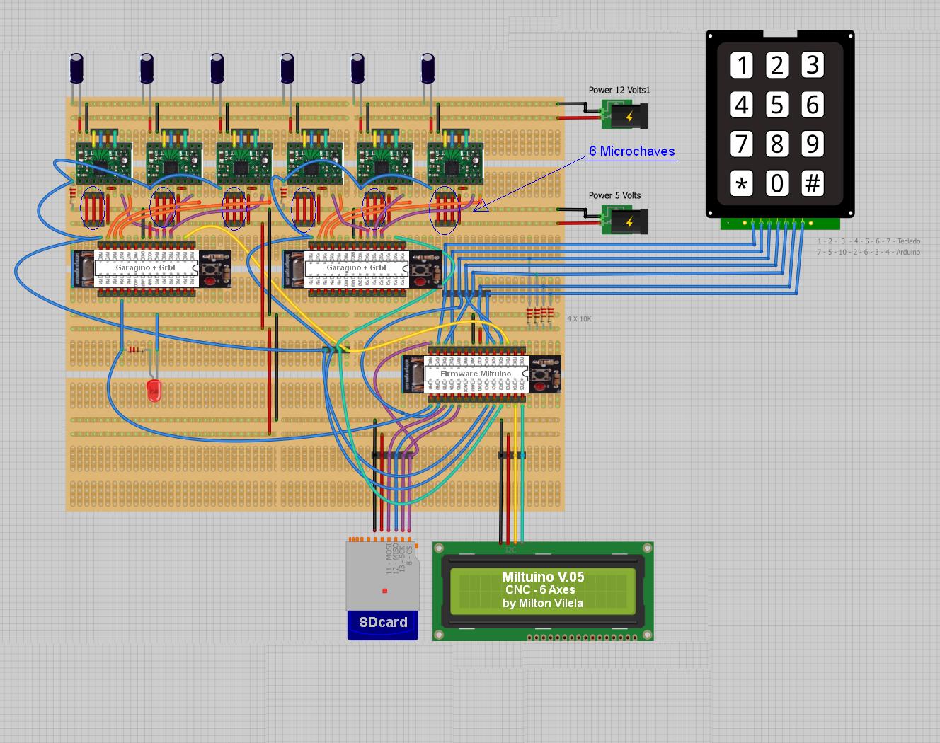 Miltuino V 05 - Headless CNC 6 Eixos (3+3) Com Firmware Grbl