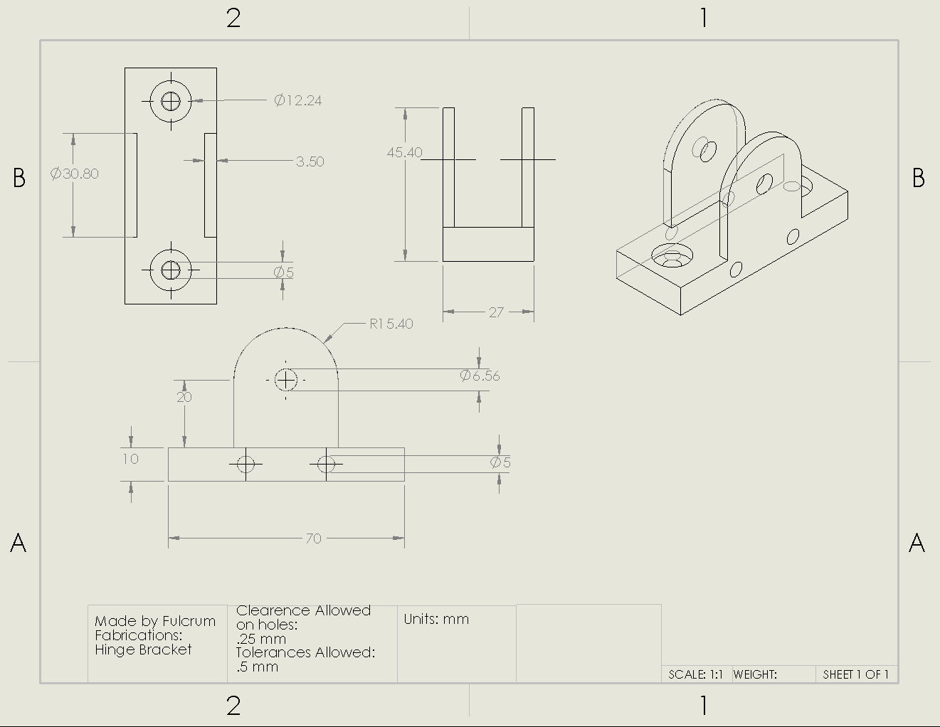 Picture of Hinge Bracket Drawing