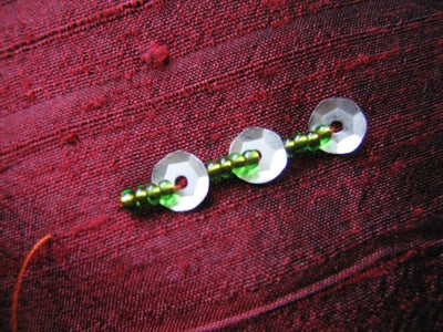 Sequin Backstitch With Trailing Beads
