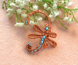 How to Make Cheap Aluminum Wire Wrapping Dragonfly Ear Cuff with Blue Seed Beads