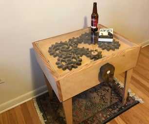 Spinning Gear End Table