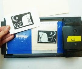 Credit Card Machine Lino Printing