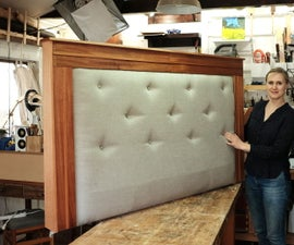 DIY Upholstered Queen Sized Headboard W/ Linen & Mahogany