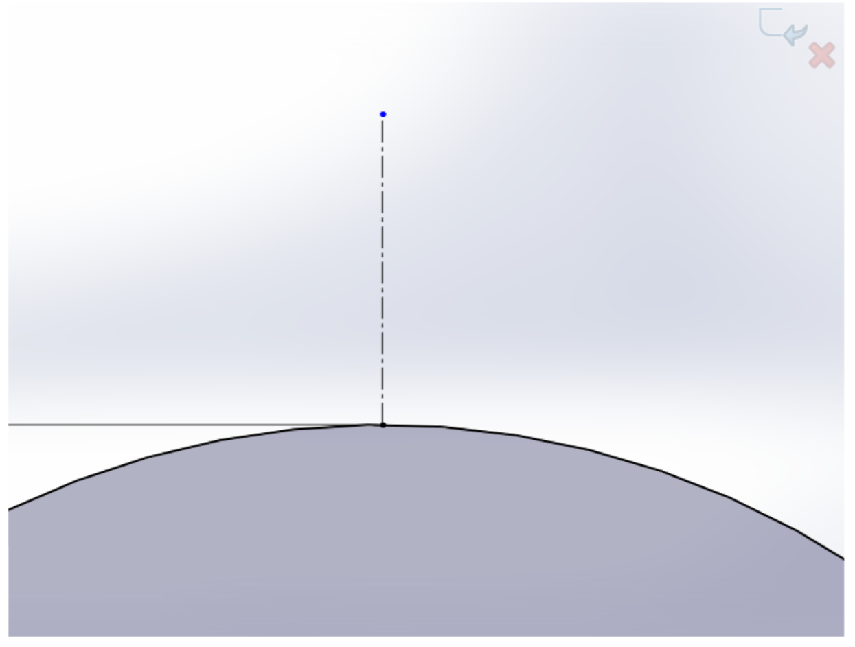 Picture of Sketch a Centerline Vertically From the Top of That Circ