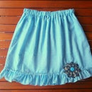 Ruffled gingham skirt (blue)