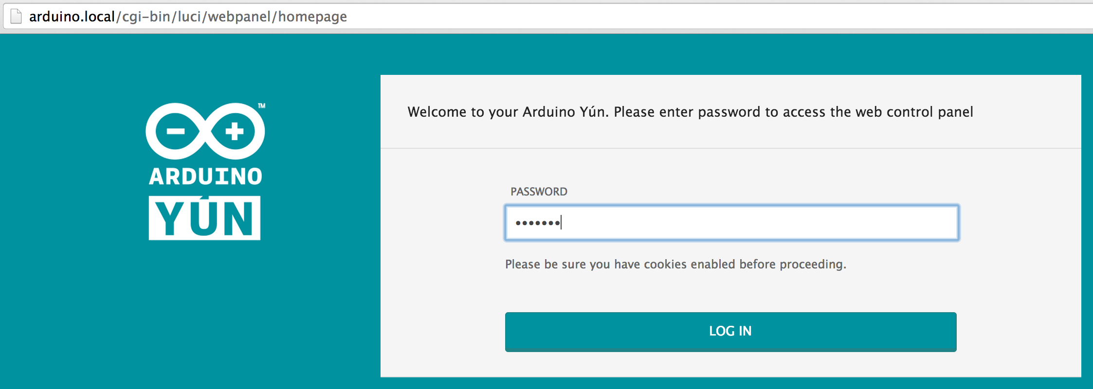 Picture of Browse to Http://arduino.local/ and Enter Arduino for Your Password