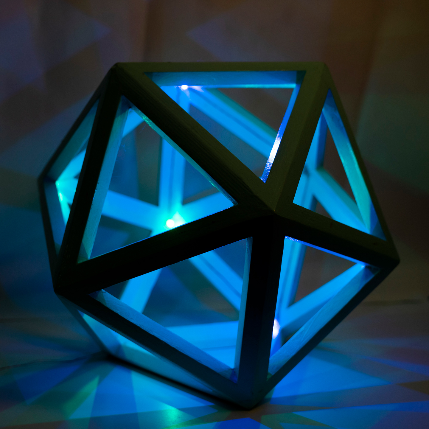 Picture of Plywood Icosahedron and the Other 4 Platonic Solids