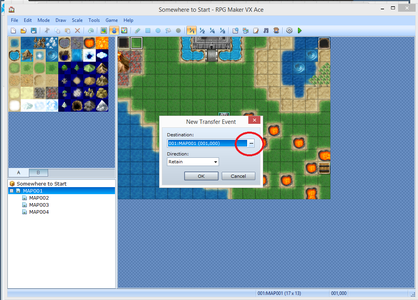 Click the Circled Spot to Select a New Map to Transfer To
