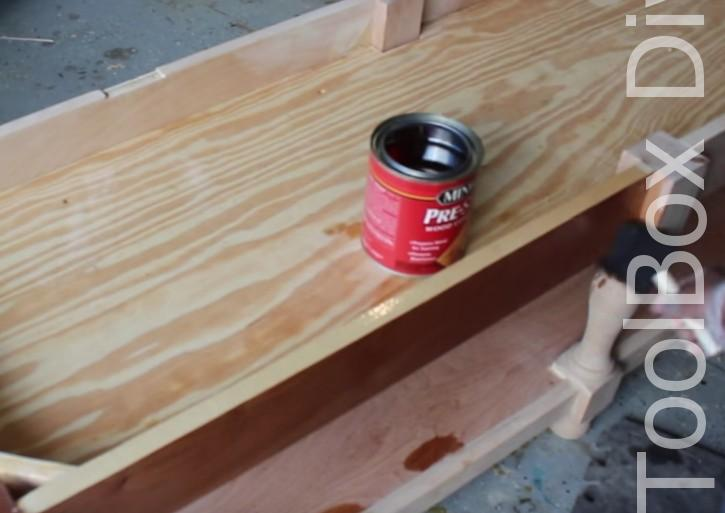 Picture of CONDITION AND STAIN THE BENCH.