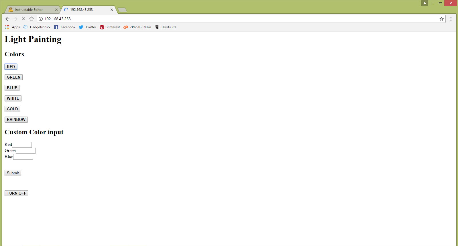 Picture of Web Interface and Its Code