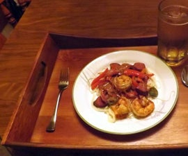 PECAN SMOKED SAUSAGE & SHRIMP IN A CREOLE MUSTARD SAUCE WITH PEPPERS & ONIONS