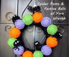 Spider Poms & Festive Balls of Yarn Wreath