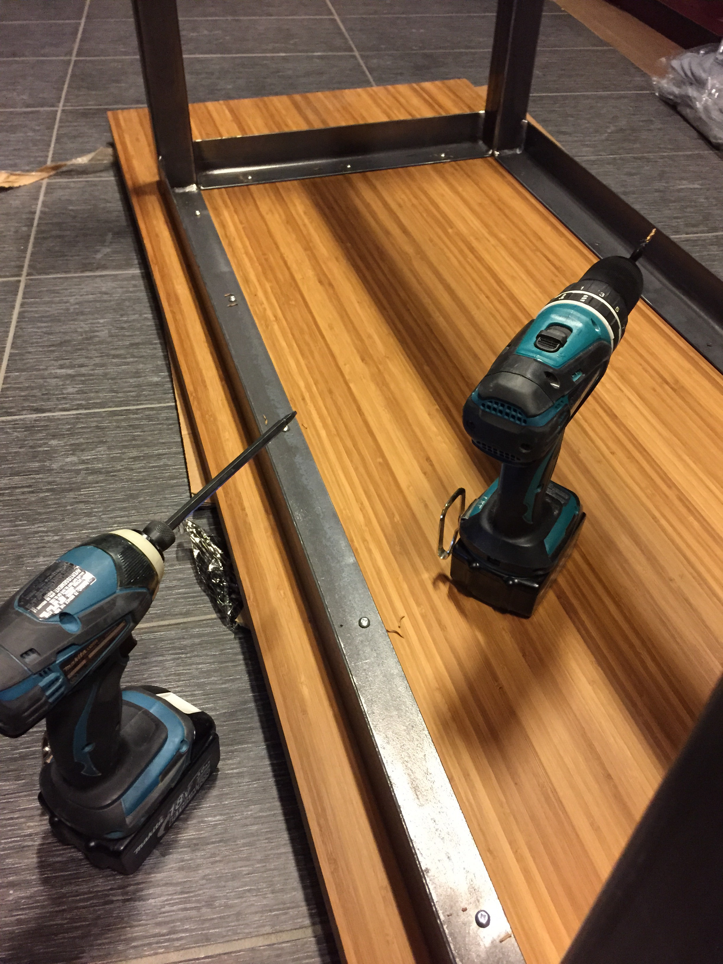 Picture of Fixe the Table Tops to the Steel Frame