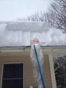 Roof Snow Rake Scooper Tool - Easy DIY Using a 5 Gallon Bucket, a Shower Curtain, and a Pole