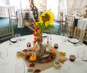 Fall-themed Mason Jar Wedding Centerpieces