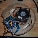 Floor vacuum cleaner robot - controlled by Arduino with motor shield, with printed motor-wheels