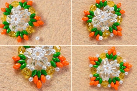 Make the Third Part of the 2-hole Seed Bead and Pearl Star Earrings