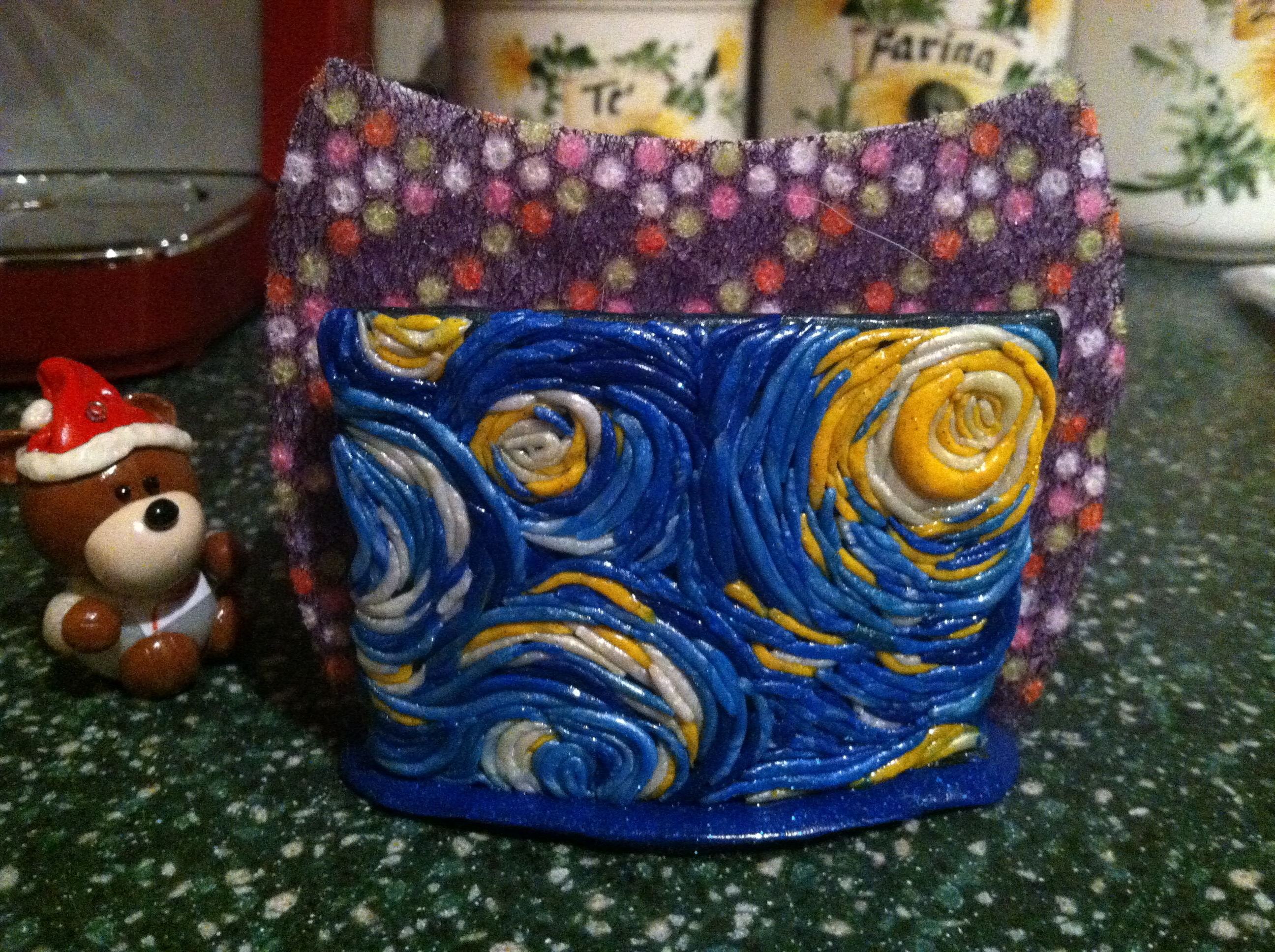 Picture of Starry Night Polymer Clay Dish Sponge Holder