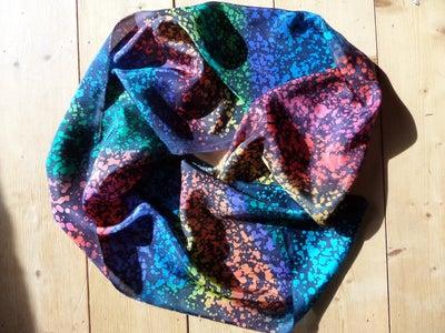 Rainbow Batik Silk Scarf Using a Teazle!