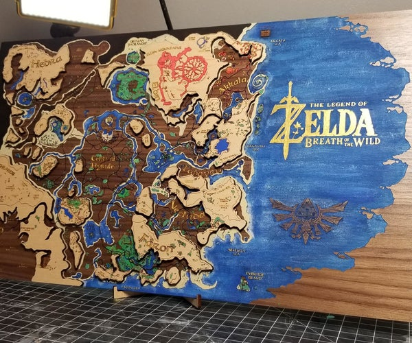 Multi-layer Map of Hyrule - Laser Engraved and Painted