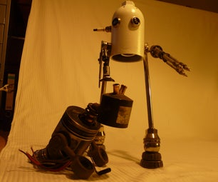 Robot Lamp Made From Scrap