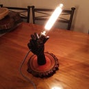 Wooden Hand Light With Wood Log Slice Base