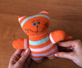 Sock cat DIY. Handmade gift for kids