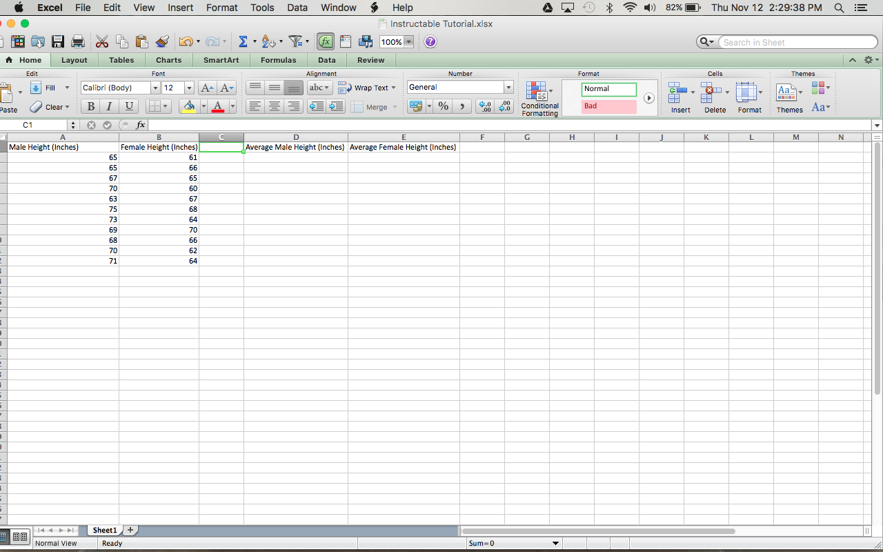 Picture of Naming Data Columns and Inputting Data