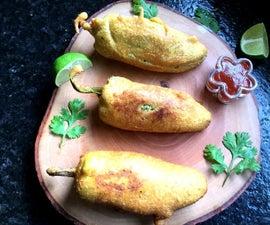 Indian Style Mirchi Pakoda/Stuffed Chili Fritters