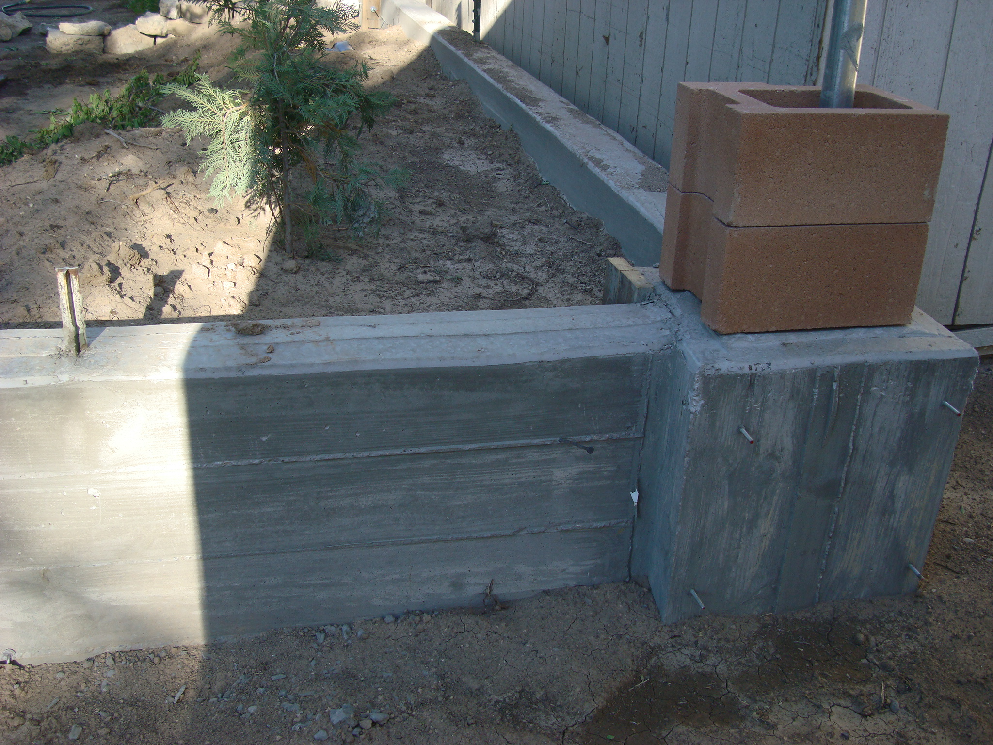 Picture of Retaining Wall and Footer/ Pouring Concrete