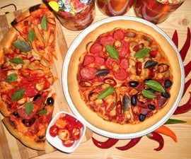 Pickled Hot Peppers and Spicy Four Seasons Pizza
