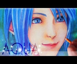 Aqua - Kingdom Hearts - Colored Pencils Painting Process