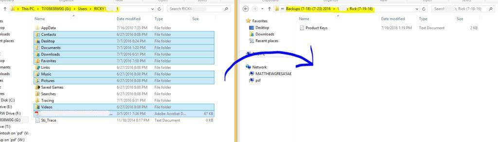 Backup User Data and Product Keys