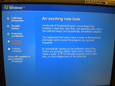 Allowing Windows XP to Install