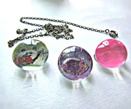 Flat Marble Charm Necklace