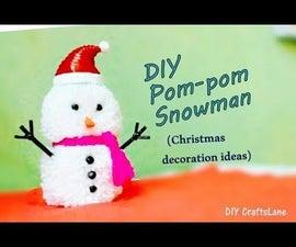 DIY Pompom Snowman | How to Make Christmas Snowman Using Yarn and Newspaper Tubes | DIY CraftsLane