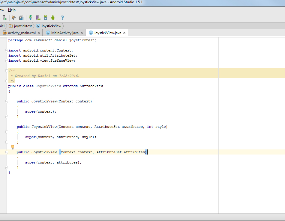 Picture of SurfaceView Constructors/More Setup