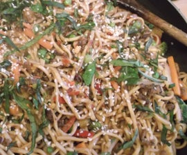 15 minute peanut butter and chilli beef (or pork, prawns, tofu, chicken...)noodles!