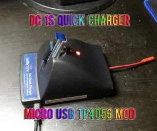 Hobby Zone DC Quick Charger 1S LiPo Micro USB TP4056 Mod