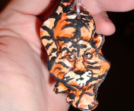 Orange Tiger Cat Sculpey Pendent Finished