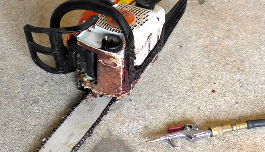 Fixing Chainsaw Bar Oil Problem With Air Compressor