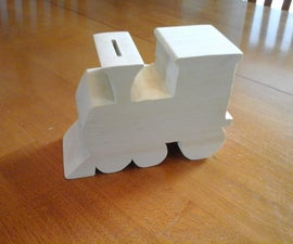 Wooden Train Coin Bank