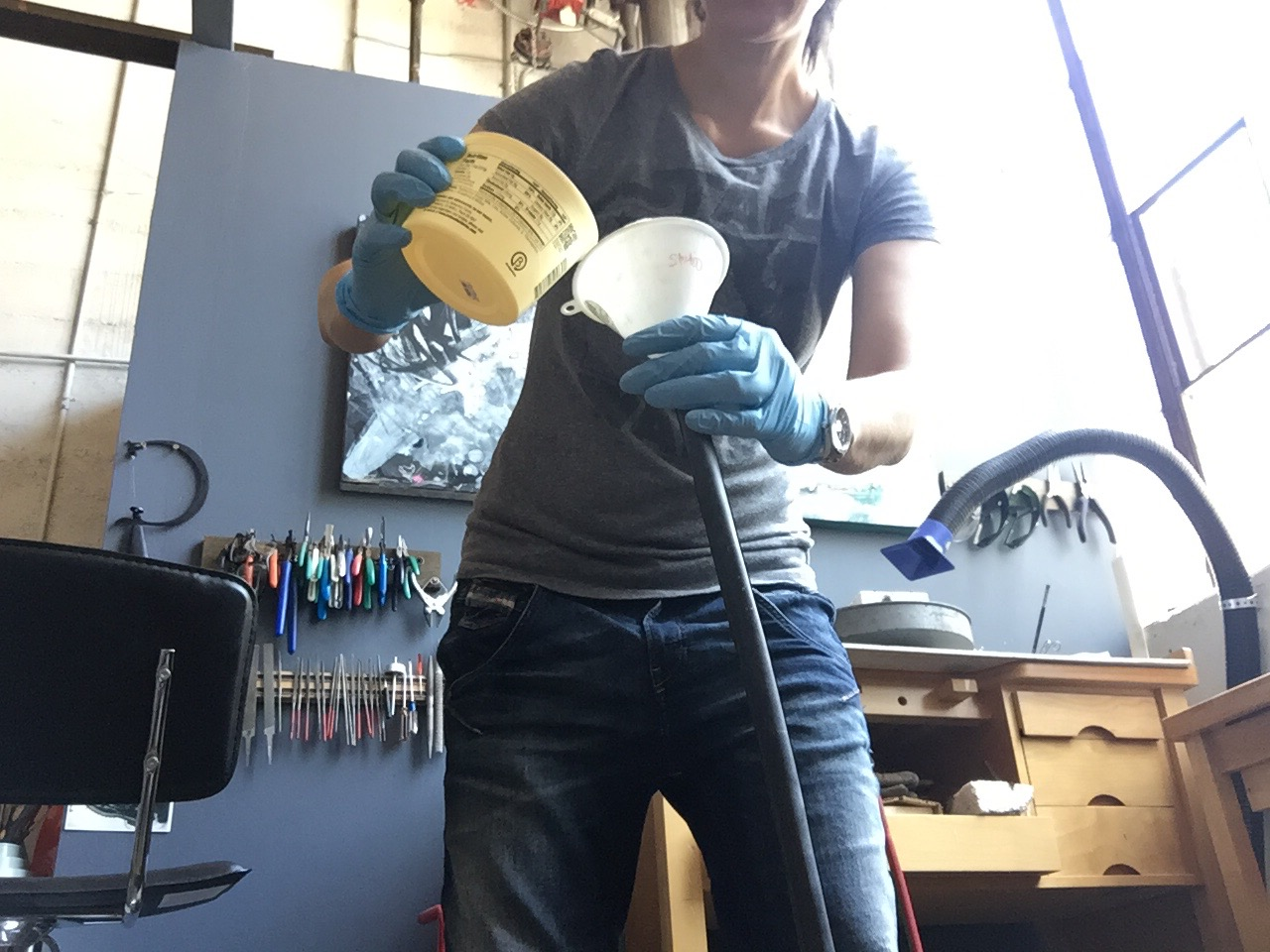 Picture of Pouring the Epoxy Into the Tire