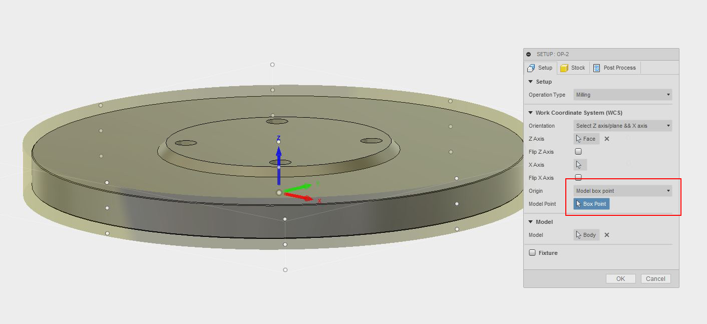 Picture of OP-2 Setup in Fusion 360 and on the Haas VF2 Milling Machine