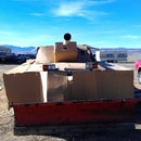 Cardboard M1 Abrams Tank on Chevy Pickup!  With Plow!   (photos only)
