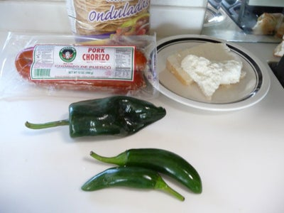 Chorizo, Goat Cheese and Poblano Tostadas