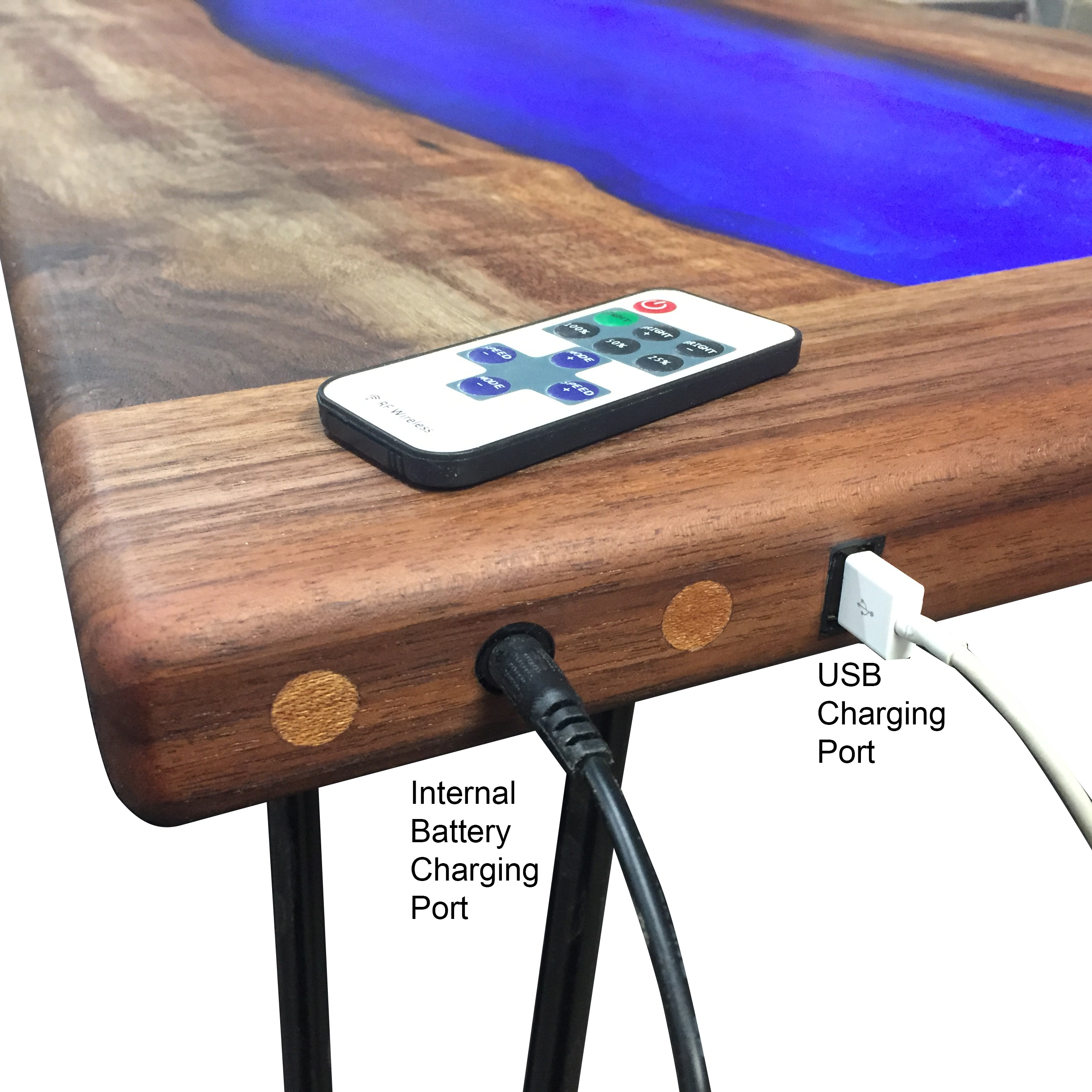 Picture of LED Lit Walnut and Resin-River Coffee Table That Charges Your Phone!