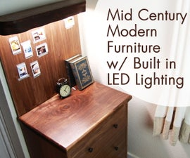 Mid Century Modern Storage Table W/ Built-in LED Lighting