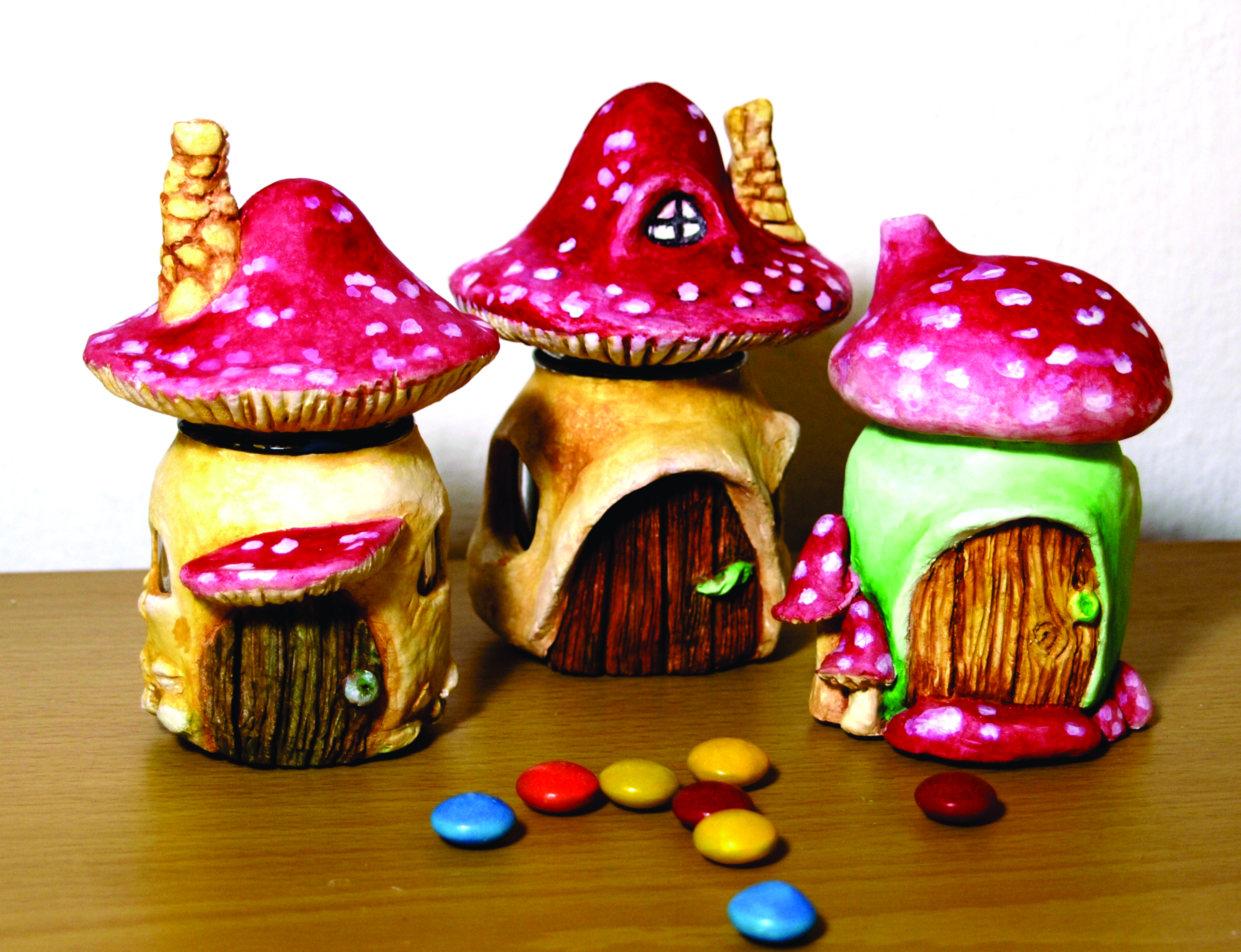Picture of Mushroom Fairy Houses Out of Cute Little Jars